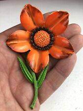 Vintage Orange Green Enamel Flower Floral Brooch Pin
