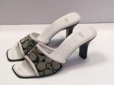 COACH Slide Heel Sandals 7 B Gwyneth Black & White Jacquard/Leather