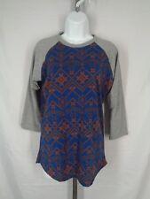 Lularoe Randy T Shirt Top Size Small Blue Brown Gray Raglan 3/4 Sleeves