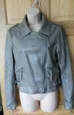 Topshop tan faux leather biker jacket with removable collar, size 12
