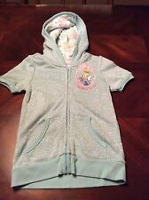 Perfect Princess Disney Short Sleeve Blue Sparkly Cinderella Hoodie Size Xs Or 4