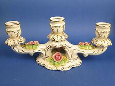 Dreiarmiger Leuchter, Wilhelm Rittirsch,Rosen,Gold, Porzellan,floral Tolles Teil