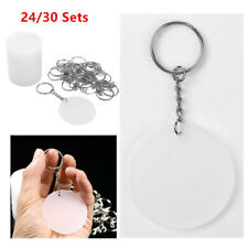 24/30Sets 2 Inch Round Acrylic Clear Keychain Blanks+ Metal Split Key Chain Ring