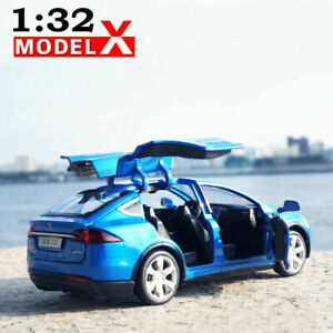 1:32 TESLA Model X 90D Diecast Luminous Pullback Gift Model Car Toy Collection