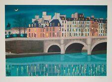 François LEDAN dit FANCH- Lithographie originale- Le pont Neuf la nuit