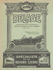 Z8306 Voiturette DELAGE - Pubblicità d'epoca - 1914 Old advertising