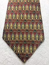 LORD AND TAYLOR MENS TIE RED WITH GOLD AND BLUE NWOT 4 X 59