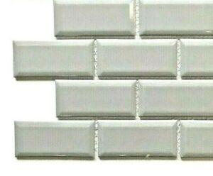 "2"" x 4"" Grey Silver Denim Beveled Ceramic Glossy Tile Mosaic (SAMPLE SWATCH)"
