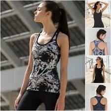 Womens Sports Gym Racer Back Running Vest 2in1 Reversible Fitness Yoga Tank Top