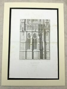1857  Engraving Architectural Print Reims Cathedral Gothic Stone Masonry