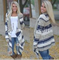 Women's Fashion Autumn Winter Irregular Loose Knitted Cardigan Sweaters Coat