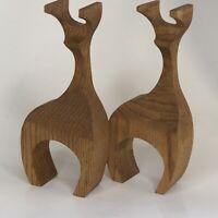 "Lot 2 Vintage MCM Mid Century Wood Wooden Reindeer 8""Tx3.25""Wx1.5""d"
