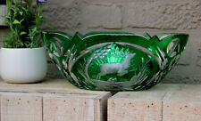 Large Vintage Czech bohemia art glass crystal Bowl hunting deer green