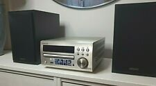 DENON RCD-M40DAB CD RECEIVER SOUND SYSTEM SILVER-WITH TWO BLACK DENON SPEAKERS