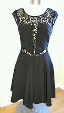 Beautiful Black Mesh Cut Out Ginger Fizz @ Asos Skater Style Dress Size 10