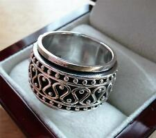 HEAVY SOLID 925 SILVER WIDE SPINNER BAND & THUMB WOMENS MENS RING SZ U 10.5