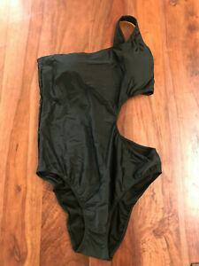 New Hollister Black One Shoulder Cutout Lined Nylon One Piece Swimsuit Junior XL