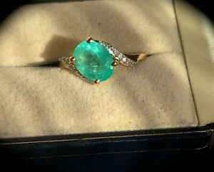 LARGE 1.61CT RUSSIAN EMERALD RING  Y GOLD 'CERTIFIED' SIZE P 1/2 - BEAUTIFUL!