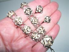"Vee Necklace & Stud Earring Set~11G Handmade Sterling Silver Multi Roses 16"""