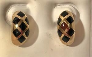 14K Yellow Gold & Black Onyx Half Hoop Earrings 4.17 Grams