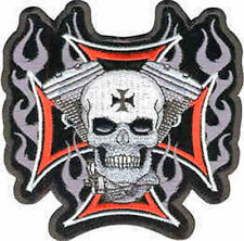 Iron On/ Sew On Embroidered Patch Badge Malta Skull V Twin Maltese Cross Large