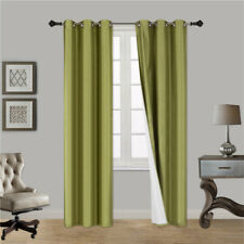 2 PANEL 100% THERMAL BLACKOUT BRONZE GROMMET WINDOW LINED PANEL CURTAIN AAA 84