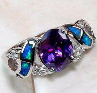 2CT Amethyst & Australian Opal Inlay 925 Sterling Silver Ring Jewelry Sz 6, 1R2