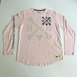Under Armour Mens XL Project Rock BSR Long Sleeve Training Shirt Pink Black 1166