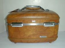 American Tourister Vintage Train Case Hard Suitcase Luggage Makeup Case Brown