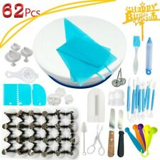 62×Cake Decorating Set Baking Supplies Kit Turntable Flower Mold Piping Nozzles