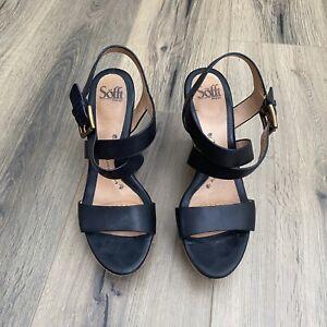 SOFFT Primrose Wedge Sandal Size 9.5 Black Leather Strap Cross EUC