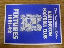 1991/1992 Darlington: Official Fixtures Card.  Thanks for viewing our item, we t