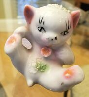 "Japan Vintage 2.5"" Playful CAT KITTEN KITTY White Pink Flower Porcelain Figurine"