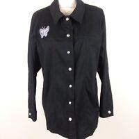Quacker Factory Women's Size 1X Shirt Jacket Decorative Button Down Black