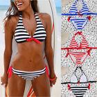 Summer Women Sexy Bikini Set Striped Swimsuit Swimwear Beachwear Bathing Suit
