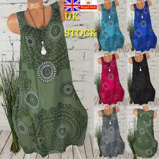 Plus Size Women Retro Boho Sleeveless Mini Dress Summer Beach Baggy Tunic Dress