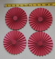 """4 Large Handmade Card Stock Red Rosettes 5.25""""  Perfect for Scrapbook Layouts"""
