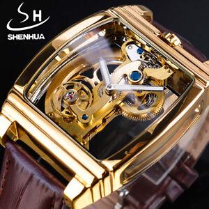 SHENHUA Men's Tourbillon Automatic Mechanical Watch Genuine Leather Gold Watch