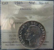 1949 Canadian Silver 50 Cent MS64 Trends $275
