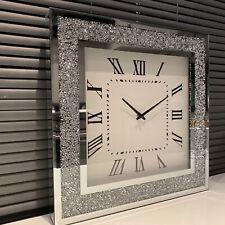 40CM CRUSHED JEWEL WALL CLOCK SILVER JEWEL MIRROR WALL CLOCK DIAMANTE WALL CLOCK