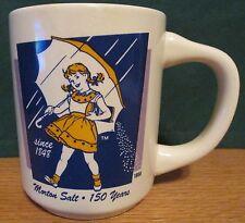 VINTAGE MORTONS SALT 150 YEARS   1956 UMBRELLA GIRL ADVERTISING COFFEE MUG CUP