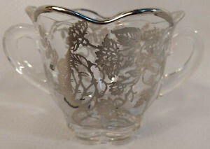 Vintage Glass Sugar Bowl Floral Design Sterling Silver Overlay And Trim