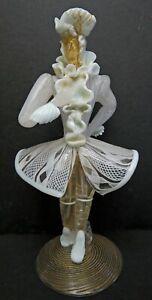 Murano  Italian Glass  Barovier & Toso White  Latticino Male Figure 60'S
