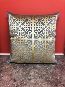 """Grey and Gold Geometric Decorative 18""""x18""""Velvet Pillow throw cushion cover"""
