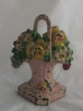 Old Cast Iron Hubley Miniature Painted Door Stop Flowers in Pink Handled Basket