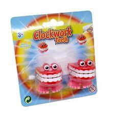 2 x 2 Clockwork Wind Up Chattering Chatter Teeth Eyes Kids Prank Joke Funny Toy