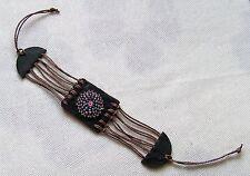 Lederarmband mit mini Perlen lila Perlenarmband Indianer necklace pearls leahter