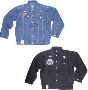 Mens Denim Jackets Casual Jeans Jacket In Stonewash or Black New Cowboy Top Coat