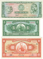 Pérou lot 3 billets 5+5+10 soles 1960-72 / Peru set 3 notes