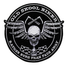 Old Skool Biker Embroidered Iron On Patch - School Skull Motorcycle 048-O